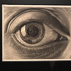 M.C. Escher - Eye | A close-up of the artists eye. A human skull reflects back.