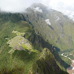 Atop Huanya Picchu looking down at Machu Picchu | Atop Huanya Picchu looking down at Machu Picchu