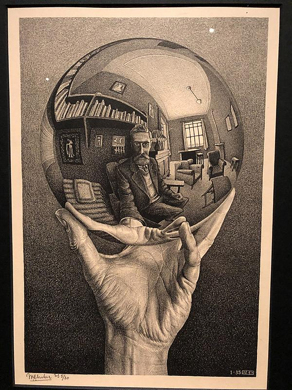 M.C Escher - Hand With Reflecting Sphere | A self portrait of the artist as reflected through a mirrored ball