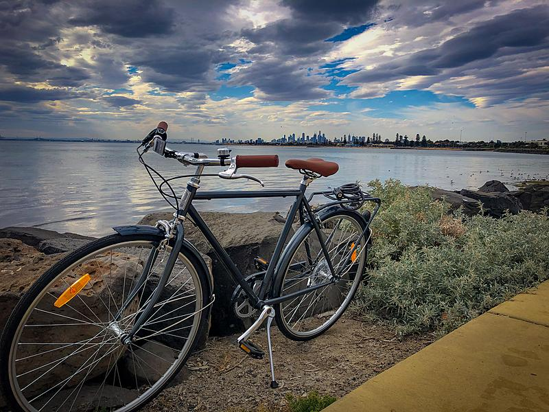 Bicycole Kidman (aka Kiddo) | My new bike sits in front of the water with the skyline of Melbourne in the distance