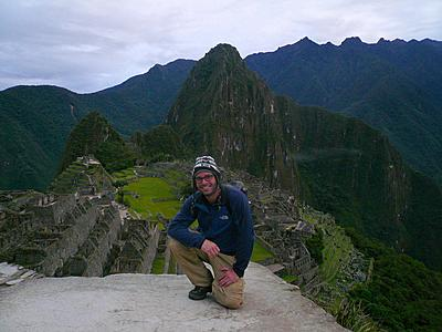 Your intrepid traveler kneeling atop a rock hovering above the beautiful hills and valleys of Machu Pichu. Like an asshole, of course I made it my profile picture.