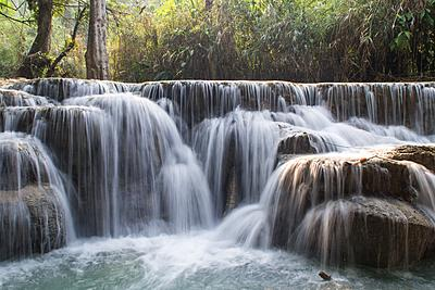 A long-exposure photograph of a waterfall